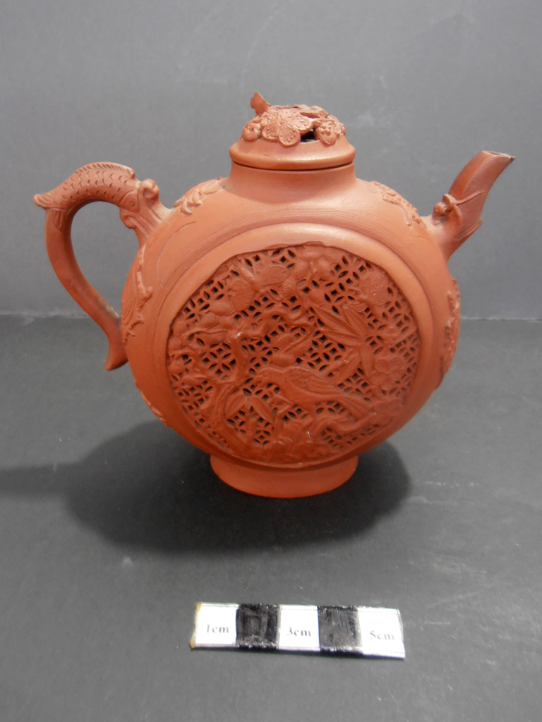 Yixing reticulated teapot– missing lion finial